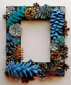 Medium Handmade Seaside Pine Cone Picture Frame 5x7 by EacArt