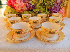 9 Early Lenox Porcelain Cups & Saucers ~ Mandarin ~ Floral ~ Enamel ~ Gold #Lenox