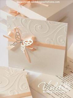 """Finesse"" Wedding Invitation, Violet Handmade Wedding Invitations"