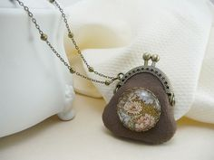 Brown Tiny Purse Necklace Coin Purse Pendant by TriccotraShop