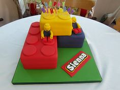 20 Enviable Kiddie Birthday Cakes.  love this lego cake.  (there is also a race track that is cute in the link).  (but for more fun, there is a link w/in the link to bad baby shower cakes... yikes)