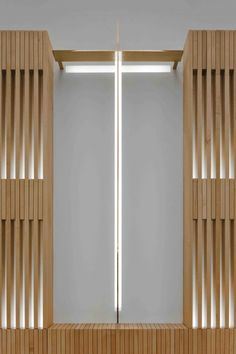 Church interior, wood and lighting details. Sacred Architecture, Church Architecture, Religious Architecture, Architecture Design, Church Building, Building Exterior, Building Design, Contemporary Interior, Contemporary Architecture