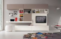 Bookshelves with tv wall unit with bookshelves bookcase bookcase with wall unit bookshelves bookshelf contemporary stand Desk In Living Room, Condo Living, Desk Wall Unit, Wall Units, Tv Units, Bookshelves With Tv, Pouf Design, Home Office, Rack Tv