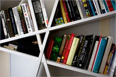 On the Cheap - The New York Times > Home & Garden > diagonal bookshelves made of wood found on the street