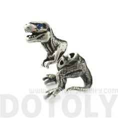 Tyrannosaurus T-Rex Dinosaur Animal Shaped Fake Gauge Stud Earrings