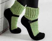 Knit Slipper Sock Adult Maryjane Slipper Sox Green House Slippers Womens Slippers Home Slippers Black House Shoes Home Shoes