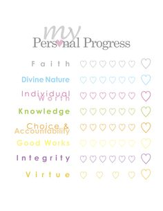 LDS YW Young Womens Personal Progress Checklist