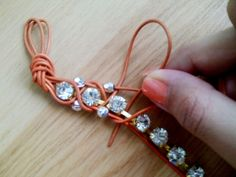DIY wrapped rhinestone bracelet  #handmade #jewelry
