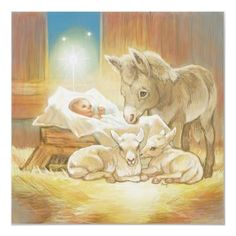 Baby Jesus Nativity w ith Lambs and Donkey...Vintage