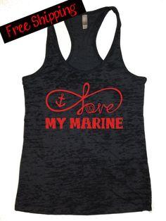 Love My Marine. Usmc Love, Marine Love, Military Love, Marine Sister, Marines Girlfriend, Military Couples, Workout Shirts, Athletic Tank Tops, Marine Corps