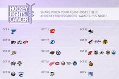Pin this calendar to share your NHL team's #HockeyFightsCancer Awareness Night.