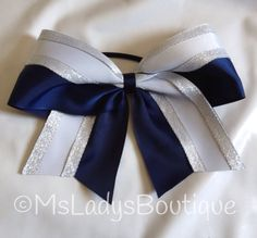 Navy White Silver Cheer Bow  185992711 by TheBowForce on Etsy