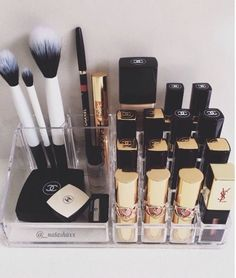 Lucite organizers- These are the beauty junkie's go-to vanity staple. They make products look fancy, they match any decor style, and you can see through them. Look for everything from lipstick holders to drawers to keep your goodies in place.