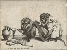 Two Monkeys Making Music. From a suite of anthropomorphic engravings from 1635 by Quirin Boel & David Teniers, in which monkeys enact scenes from human life