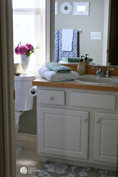 $110 Bathroom Update | Update and makeover your bathroom inexpensively. Bathroom Decorating ideas and more. on TodaysCreativeLife.com #spon #BHGLivebetter