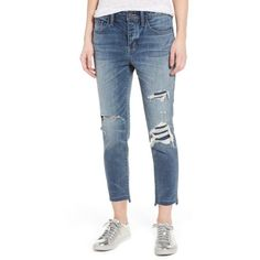 Women's Treasure & Bond High Waist Crop Jeans ($66) ❤ liked on Polyvore featuring jeans, gravel medium destroy, high-waisted jeans, skinny jeans, distressed skinny jeans, cropped skinny jeans and blue ripped skinny jeans