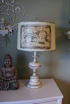 Ava Blake Creations: French Lamp: painted shabby style base with Mod Podged lampshade