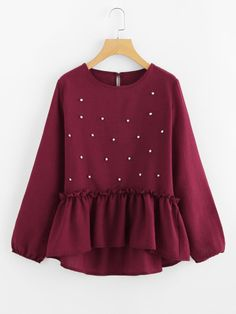 To find out about the Pearl Beaded Frill Dip Hem Blouse at SHEIN, part of our latest Blouses ready to shop online today! Muslim Fashion, Hijab Fashion, Girl Fashion, Fashion Dresses, Womens Fashion, Style Fashion, Dress Outfits, Girl Outfits, Hijab Style