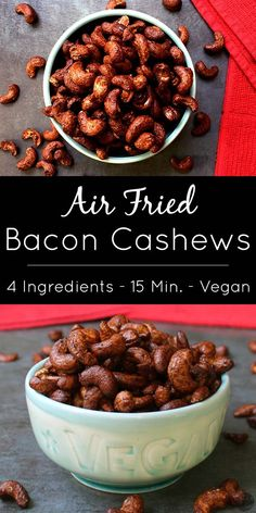 Bacon Cashews are a sweet-savory-salty snack, and they cook up in 10 minutes or less in your air fryer! Get my recipe for Air Fried Bacon Cashews, and check out the recipe video.