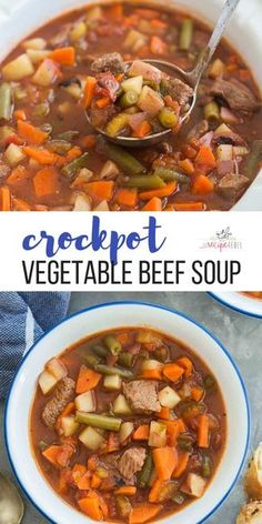 This crockpot Vegetable Beef Soup is a hearty healthy soup recipe - with chunks of tender beef lots of veggies Great for meal prep freezer friendly slow cooker soup beef vegetable soup crockpot meal slow cooker dinner Crockpot Vegetable Beef Soup, Beef Soup Recipes, Vegetable Soup Recipes, Crock Pot Soup, Slow Cooker Soup, Healthy Crockpot Recipes, Healthy Meal Prep, Slow Cooker Recipes, Healthy Dinner Recipes