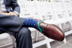 A modern groom in a blue suit with teal shoe laces | A modern, teal Washington DC wedding at the Westin in Georgetown | Images: Ken Pak Photography