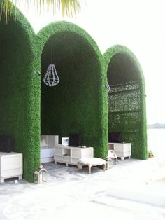 """""""Living"""" pool cabanas at the Mondrian Hotel South Beach, Miami, Florida. Backyard Canopy, Garden Canopy, Canopy Outdoor, Outdoor Rooms, Outdoor Gardens, Outdoor Living, Gazebo, Pool Canopy, Indoor Outdoor"""