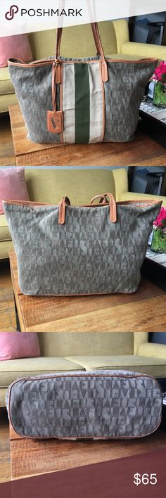🛍SALE! Authentic Furla Tote Bag w/ Leather Detail Authentic Furla Tote Bag w/ Leather Detail. Great Designer bag that matches everything. There is an inside zip & cell phone pocket.  Gently worn condition & does have some minor wearing. See pictures. A small hole on the corner edge that a tailor can easily fix & some wear on top edge by handles. Will be cheap to fix and the bag will be looking new again!! Bottom of the bag and inside cover in good condition. Selling at a great price because…
