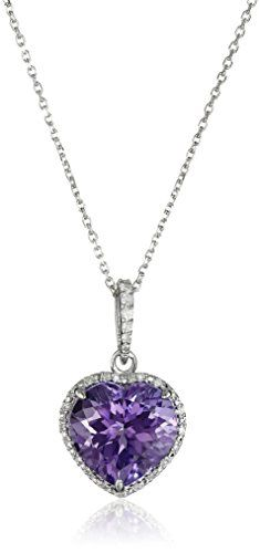 Hallmark Jewelry Stories and Relationships Sterling Silver Amethyst and Diamond Heart Pendant Necklace, 18""
