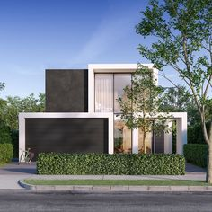 Image may contain: tree, sky and outdoor Modern Exterior, Exterior Design, Residential Architecture, Modern Architecture, Fachada Colonial, Steel Frame House, Modern Townhouse, Modern Minimalist House, Duplex House Design