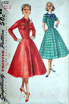 Vintage 50's Simplicity 1712 Sewing Pattern Misses'