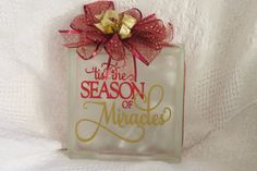 Vinyl Design Tis the Season of Miracles by PBCreativeDesigns Christmas Lights, Christmas Holidays, Christmas Ideas, Christmas Crafts, Christmas Decorations, Decorative Glass Blocks, Lighted Glass Blocks, Glass Block Crafts, Decorating Ideas