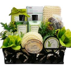 Spa Day Get Away Green Tea Bath and Body Gift Basket Set: A beautiful gift arrangement that features our exclusive line of Art de' Moi spa products. Presented in a vine inspired metal gift tin, it includes everything they need to soothe and relax tired bodies and souls. $29.99