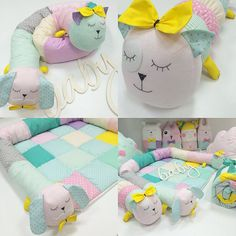Cat and dog oillow Quilt Baby, Baby Pillows, Kids Pillows, Baby Sewing Projects, Sewing For Kids, Baby Crafts, Diy And Crafts, Baby Staff, Foto Baby