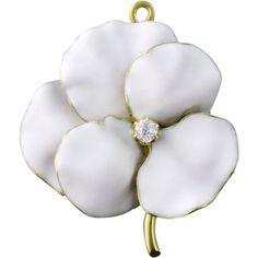 Antique Art Nouveau 14K White Enamel Enameled Diamond Pansy Flower Brooch Pendant