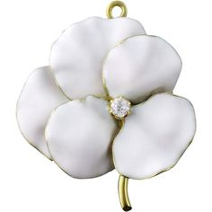 Antique Art Nouveau 14K White Enamel Enameled Diamond Pansy Flower Brooch Pendant