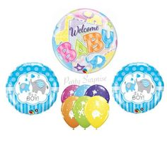Baby Shower Balloons Jungle Elephants Bubble Balloon Mylar Latex Select Your Pkg Made in USA Baby Animal Balloons Baby Boy Shower Baby Boy Balloons, Bubble Balloons, Confetti Balloons, Baby Shower Balloons, Latex Balloons, Balloon Animals, Animal Balloons, Baby Animals, Safari Party Decorations