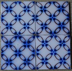¤ FRANCE ANTIQUE TILE - PAS DE CALAIS - DESVRES - 4-TILE SET c1870 in Tiles marks Fourmaintraux-Hornoy fabricant rue des Potiers