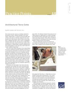 "APT Bulletin - Practice Point  No. 15 ""Architectural Terra Cotta"" By: Edward Gerns and Rachel Will"