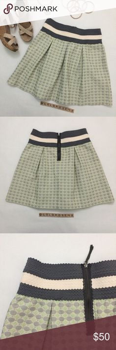 """Anthropologie Maeve Seren skirt Seren skirt, size Petite S, 3.5"""" elastic waistband, 17.5"""" overall length, 14"""" waist across lying flat, no inner lining, 38% cotton/60% polyester/2% elastane skirt, machine wash cold. Back zipper, side pockets. Brand new with tags, excellent condition. Tag says there's a pen mark but I didn't see any outside/inside skirt. No damage/fraying/stains. Stored in a non-smoking/pet-free home. Bracelets, necklace, shoes not included. No trades or offsite transactions…"""