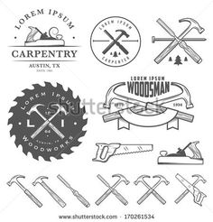woodworking - Set of vintage carpentry tools, labels and design elements Woodworking Store, Woodworking Logo, Woodworking Videos, Fine Woodworking, Woodworking Projects, Woodworking Bench, Youtube Woodworking, Woodworking Workshop, Woodworking Organization