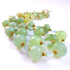 SALE - Chunky Double Strand Jade Natural Gemstone Necklace with Aquamarine and Peridot in Gold Vermeil