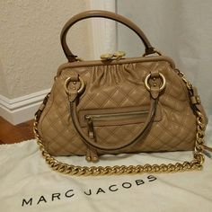 Marc Jacobs Stam Bag Detachable gold chain strap and dust bag included. Some faint stains on inside lining (2nd photo) and some marks from the hardware on the leather (4th photo). Marc Jacobs Bags Satchels