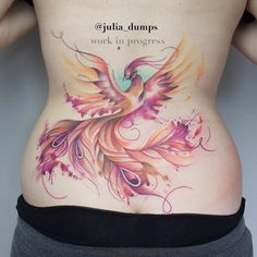 This is absolutely beautiful. One of the best pieces of watercolour tattoo I have seen. Think I need to now visit Austria to get my own!    Still in progress, can't wait to finish the details! #phoenix #phoenixtattoo #backpiece #backtattoo #watercolortattoo #watercolourtattoo #watercolortattoolinz #watercolourtattoolinz #aquarelltattoo #aquarelltattoolinz #juliadumps #linz #linztattoo #linzertattooatelier #wctattoos #newtattoo #newtattooworkers #tattrx #tattooart #tattootime #tattooistartmag…