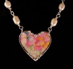 Broken China Jewelry beaded necklace, Marion chintz china
