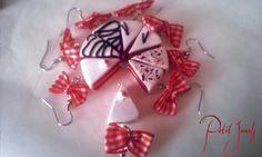 Orecchini fetta di torta con fiocco in stoffa