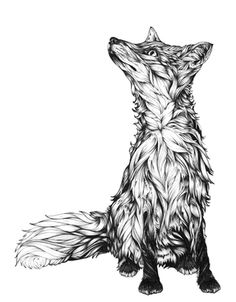 Rebecca the Fox by Greg Coulton, via Behance, You must view close up progression of this pic and his other projects. (Cool Art Black And White) Draw Chibi, Art Fox, Fox Tattoo Design, Tattoo Designs, Tattoo Ideas, Fuchs Illustration, Fuchs Tattoo, Tattoo Sketches, Spirit Animal