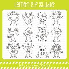 Silly Monsters-Digital Stamp (LES.DS03) from Lemon Elf Studio on TeachersNotebook.com -  (12 pages)  - Silly Monsters digital stamp set comes with bunch of weird monsters. They are ready to roar your party. Elf Studio, Educational Activities, Digital Stamps, Drawing Tips, Painted Rocks, Coloring Pages, Craft Projects, Lemon, Card Making