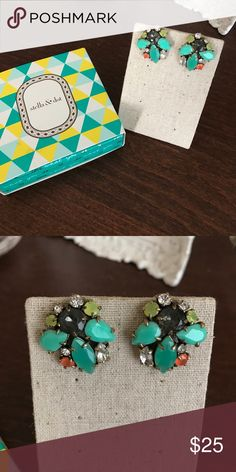 Stella & Dot Statement Post Stella & Dot statement post. Beautiful mint green and coral colors for spring Stella & Dot Jewelry Earrings