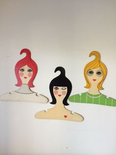 Vintage Ladies Head Face Clothing Hanger Set of by VintageFunland