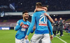 Lorenzo Insigne, Mario Rui, Piotr Zielinski of SSC Napoli celebrate the 3-1 goal scored by Piotr Zielinski during the serie A match between SSC Napoli and SS Lazio at Stadio San Paolo on February 10, 2018 in Naples, Italy.